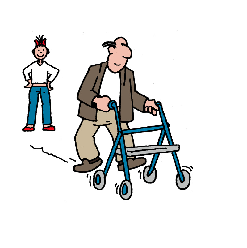 Goede situatie: Adviseer in die situatie een passend hulpmiddel, bijvoorbeeld een rollator.(bron: TNO Kwaliteit van Leven)